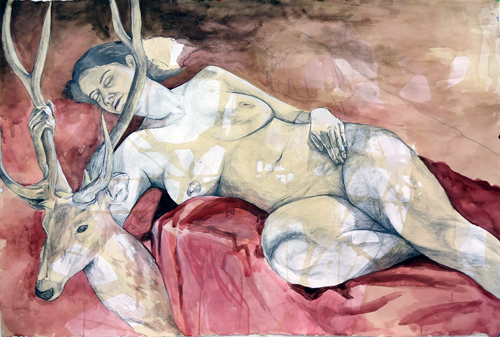reclined woman holding deer's antlers. lsu art 4889 advanced figure drawing