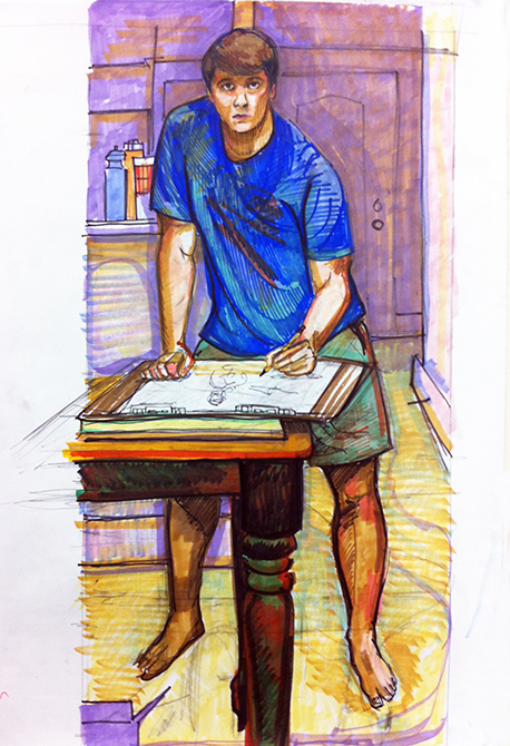 boy in blue shirt at table, lsu art 4889 advanced figure drawing