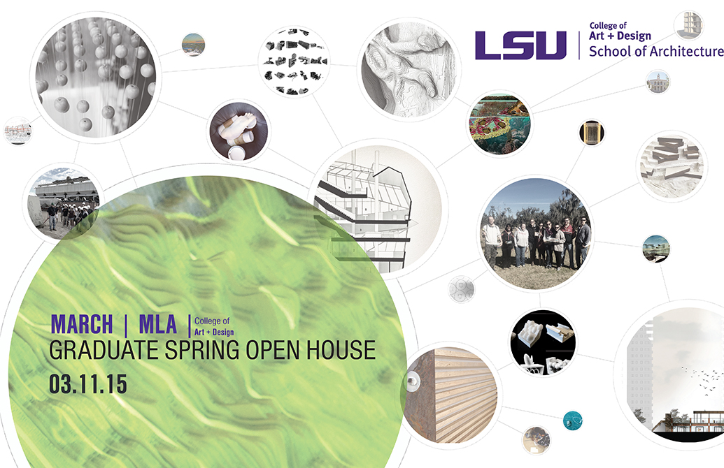Poster advertising School of Architecture Graduate Spring Open House for 2015