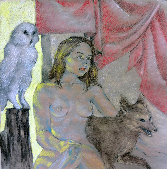 woman with owl and wolf, lsu art 4889 advanced figure drawing