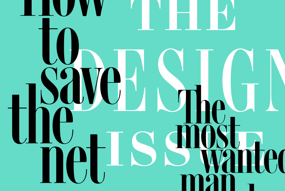 "Text: the Design Issue, ""how to save the net""; teal background. lsu graphic design alumni work"