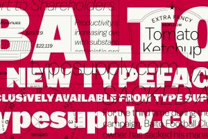 balto font, lsu graphic design alumni work: white type, red background