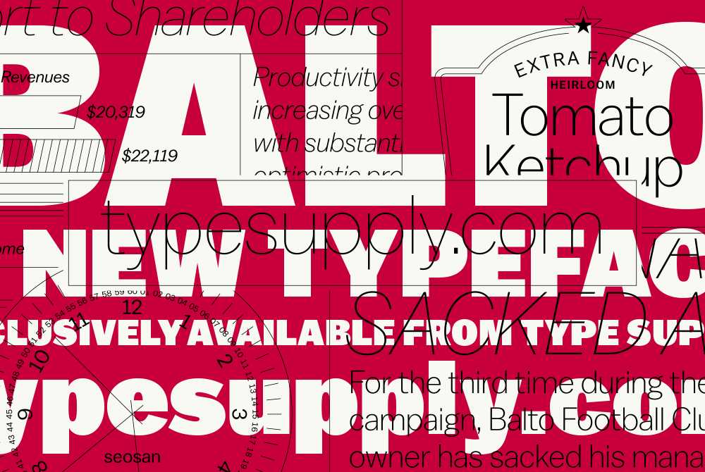 balto font, lsu graphic design alumni work: white type, red background