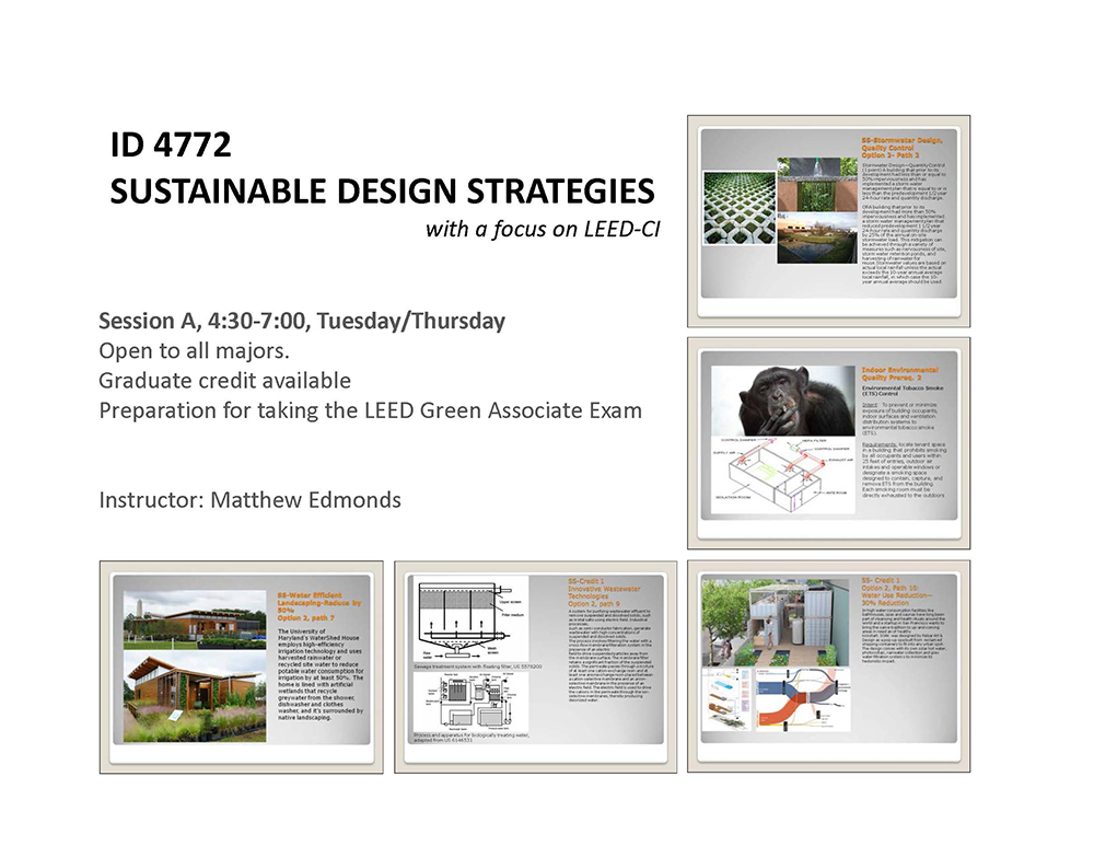 ID 4772 Sustainable Issues with a focus on LEED-CI poster sustainable strategy