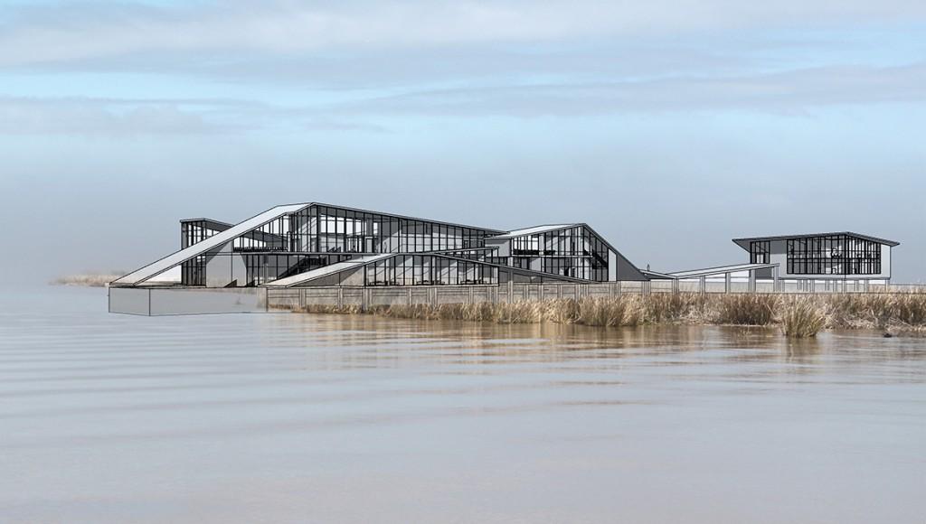 rendering of building over water