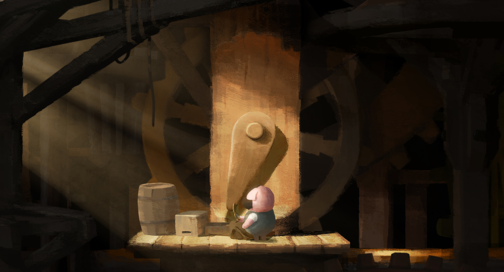 the dam keeper pig at work
