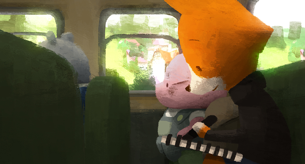 the dam keeper pixar fox and pig on bus