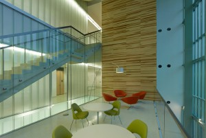 Modern building atrium, lsu interior design alumni work