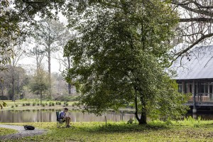 A student sketching a tree by a lake at lsu landscape architecture camp, hilltop arboretum