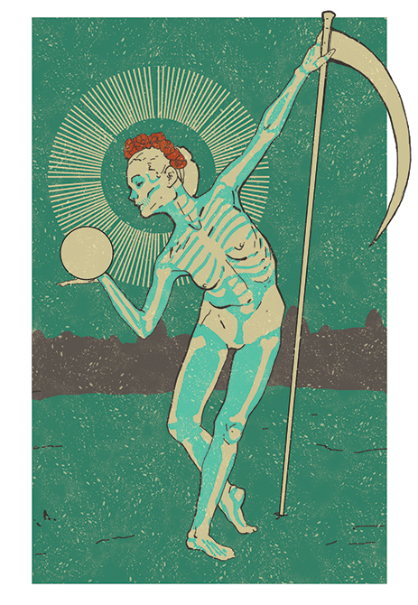 dancing skeleton with scepter, green background