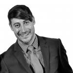 Brad Robichaux portrait, black and white