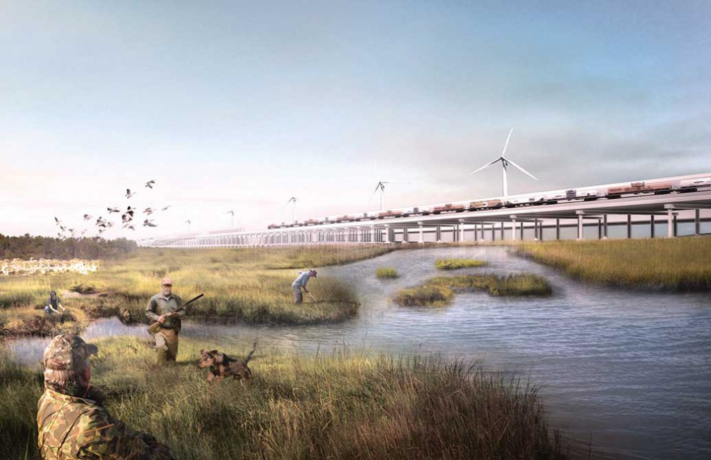 Rendering of train tracks over a swamp