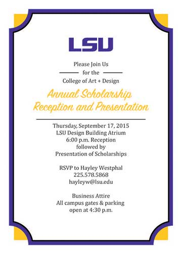 Graphic advertising the Annual Scholarship Reception