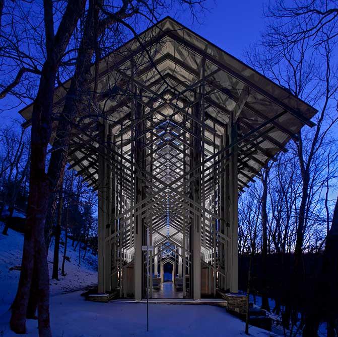 modern building in woods, lsu architecture alumni work