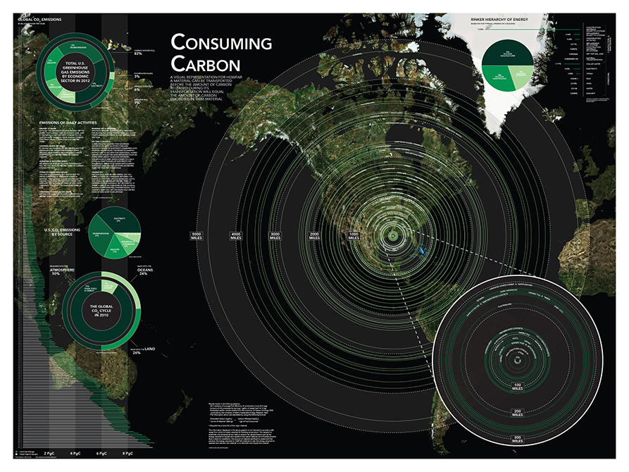 """Consuming carbon"" model of world map. interior design student work"