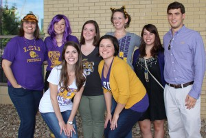 lsu architecture alumni in purple and gold shirts