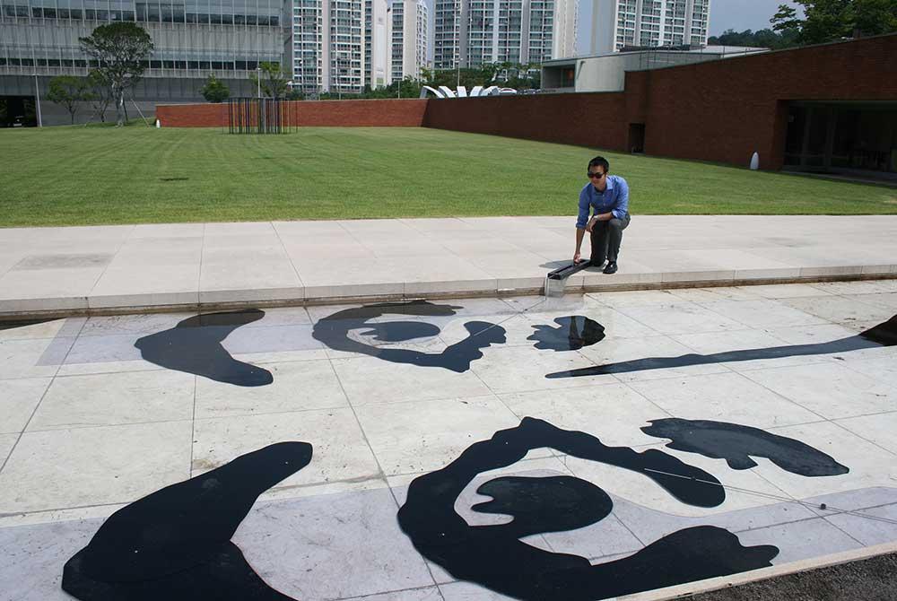 lsu art faculty sidewalk mural