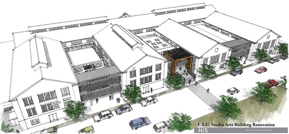 lsu studio arts building isometric rendering