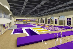 LSU Student Recreation Center renovation: gym space with purple mats