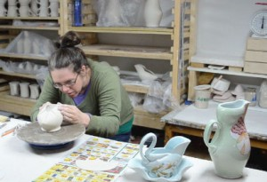 jennifer Allen molding piece in studio