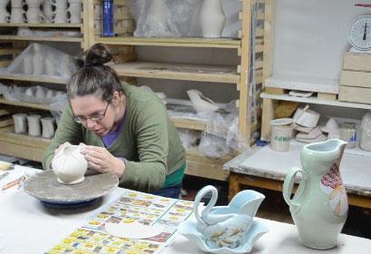 jennifer Allen molding piece in studio