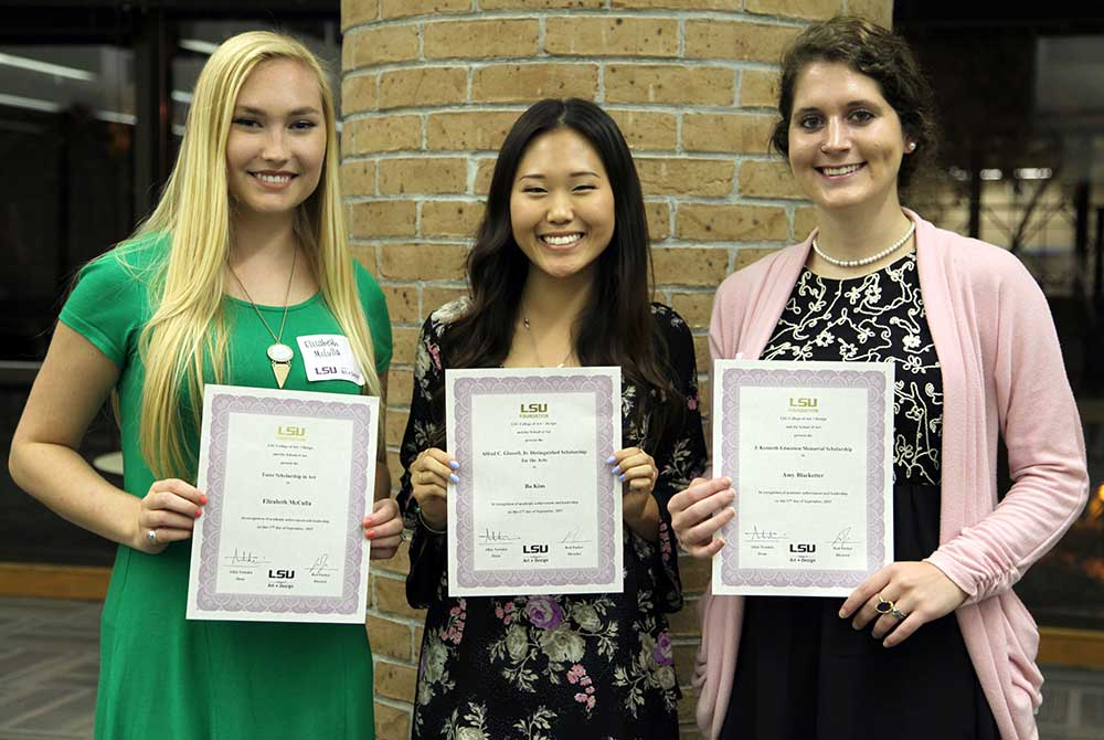 2015 scholarship reception, From left: LSU School of Art students Elizabeth McCulla, Bo Kim, and Amy Blacketter