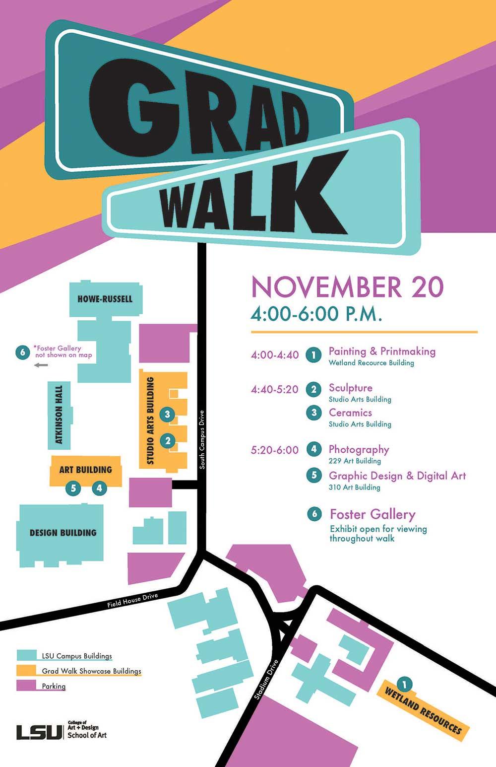 lsu school of art grad walk poster detailed