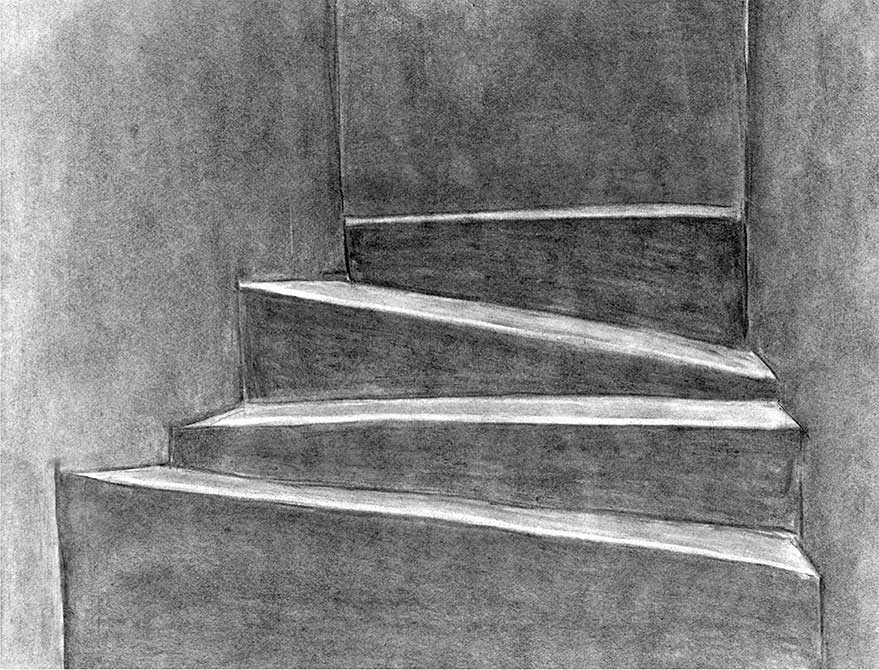 Charcoal drawing of space, lsu interior design student work