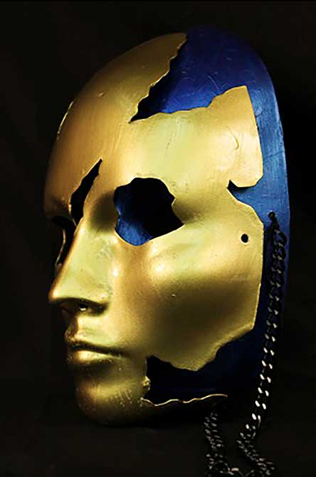 golden artifact mask, lsu interior design student work