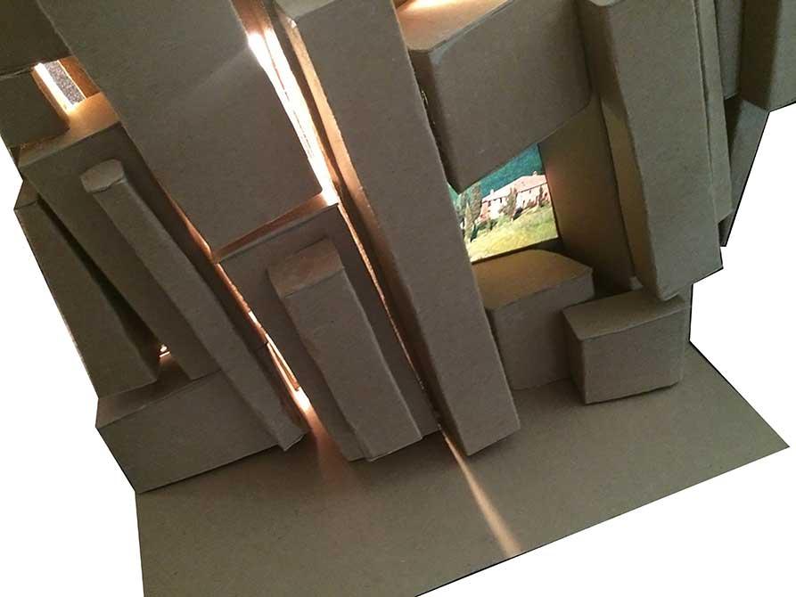 chip board block model, lsu interior design student work