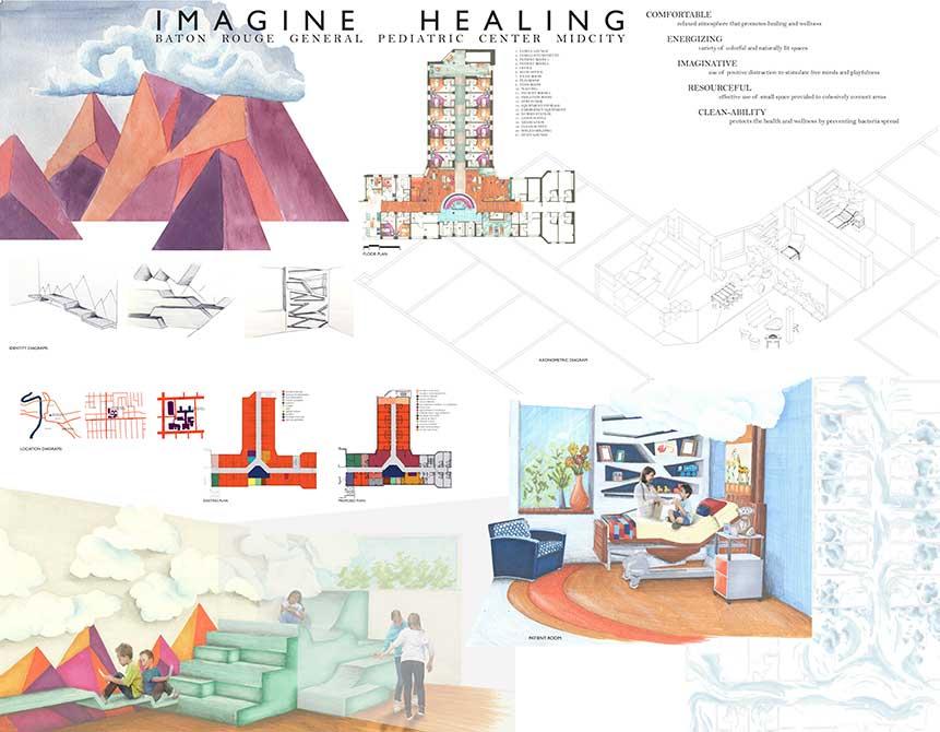 """Imagine healing"" medical space design. lsu interior design student work"
