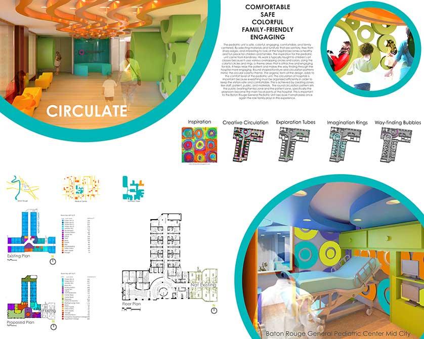 Pediatric wing design. lsu interior design student work