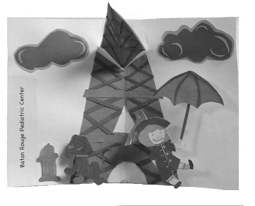 Black and white cartoon design. lsu interior design student work