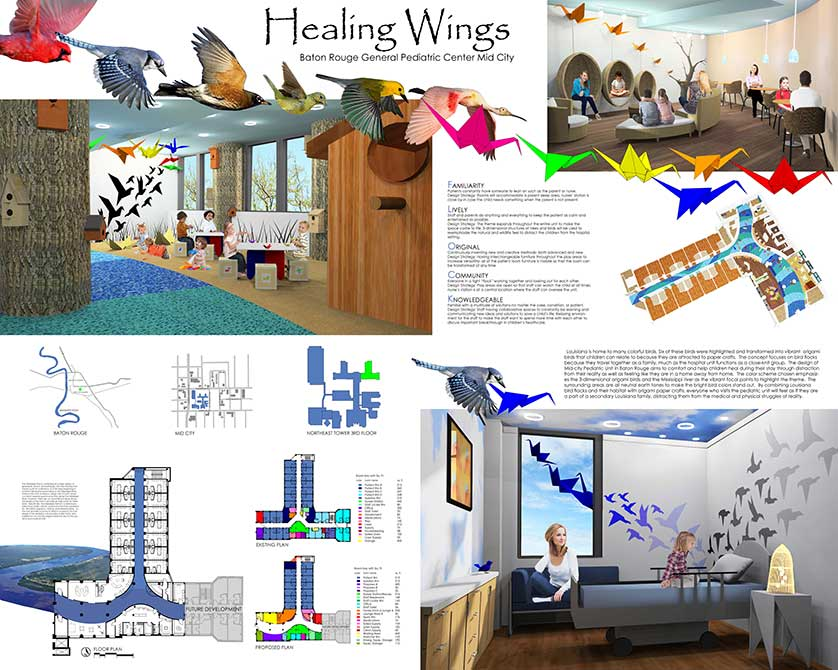 Design for Healing Wings facility. lsu interior design student work