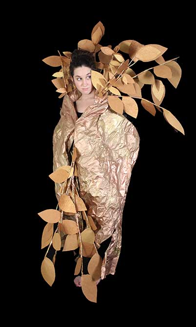 Girl with leaf costume. lsu interior design student work