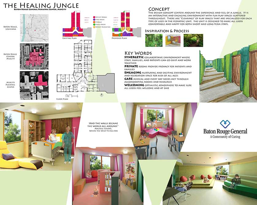 Design for the Healing Jungle medical space. lsu interior design student work