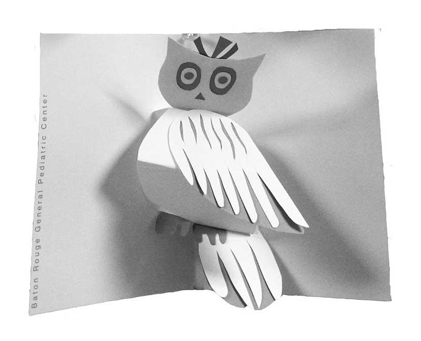 Owl paper card. lsu interior design student work