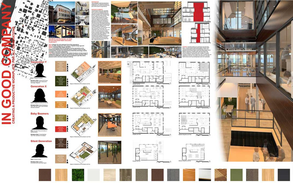Colors and materials. lsu interior design student work
