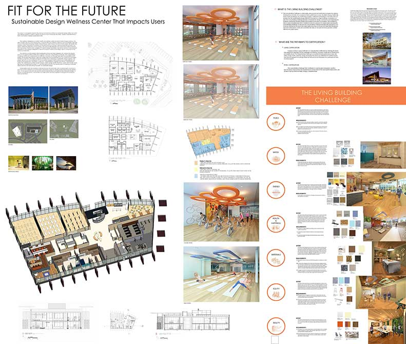 """""""Fit for the future"""" wellness center concept. lsu interior design student work"""