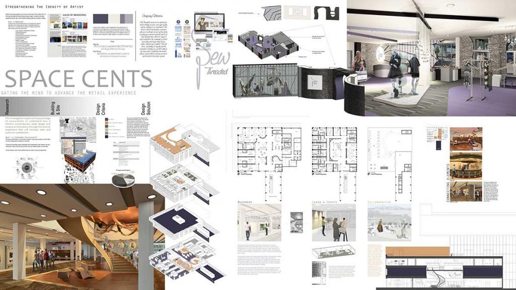 """Space cents"" design concept. lsu interior design student work"