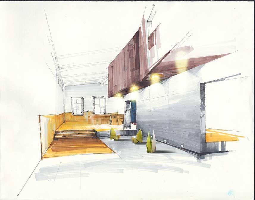 copic hand render interior. lsu interior design student work