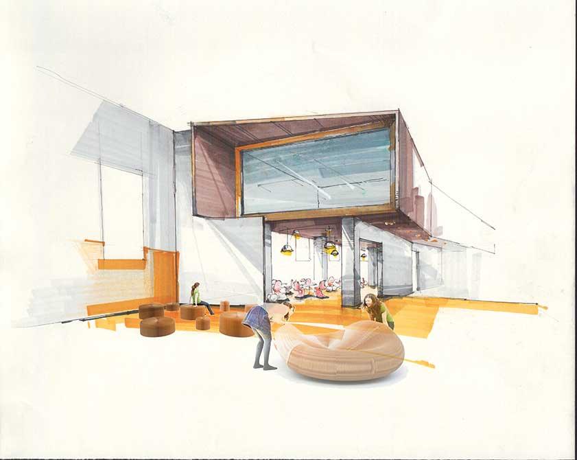 Exterior building illustration. lsu interior design student work