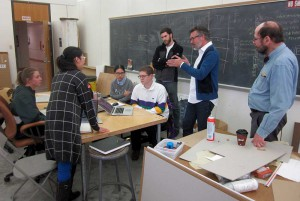 Students working in a studio, lecture by Kinder Baumgardner