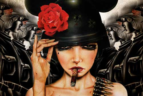 Painting of woman with cigar and red rose on Mickey Mouse hat, by an LSU student