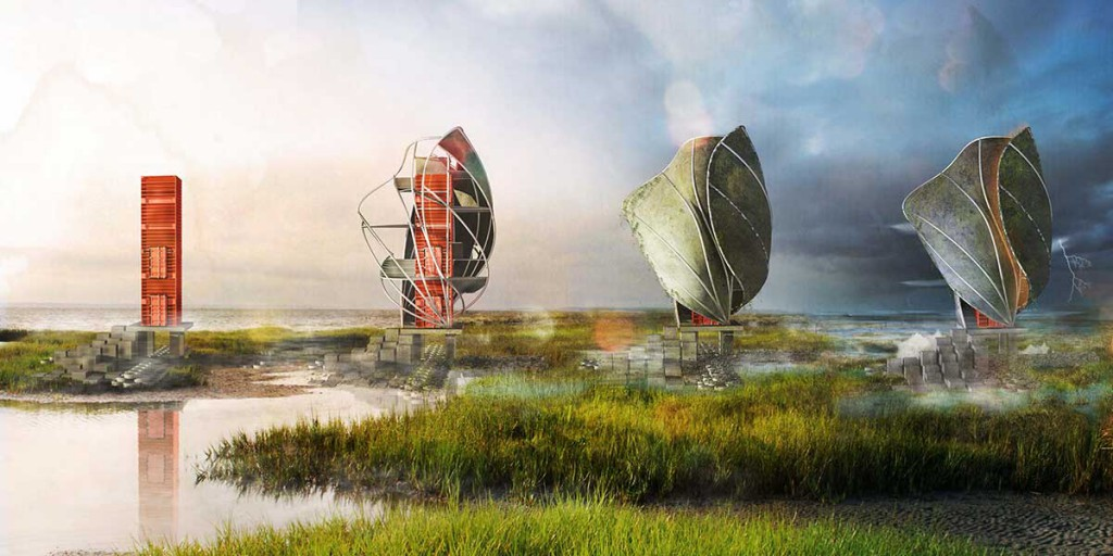 Graphic rendering of oyster installation in marsh, by lsu discover scholar
