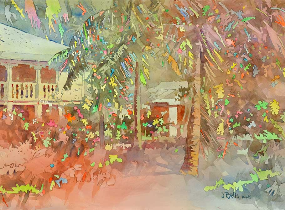 judi betts, party time in tropics painting