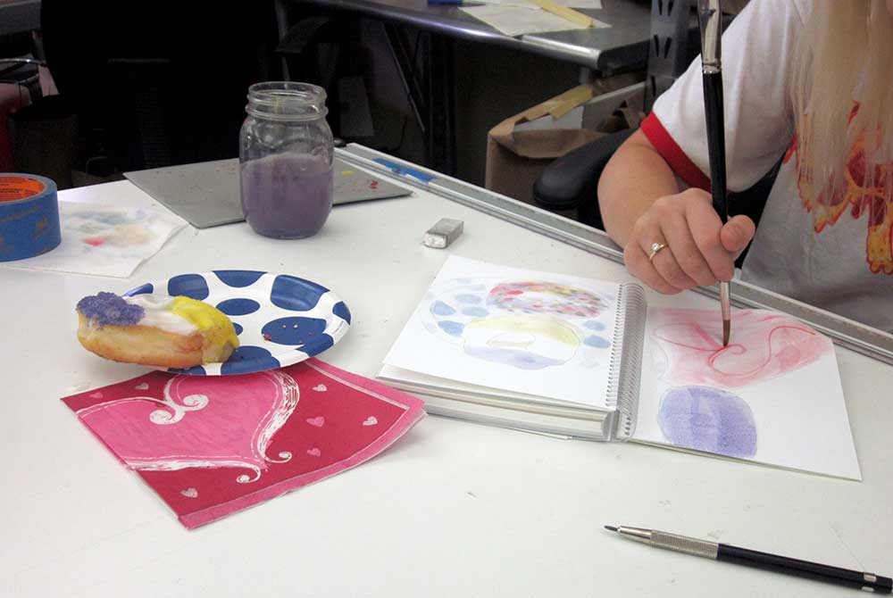 judi betts, Students working with watercolors