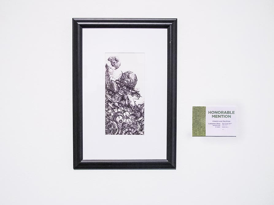 Honorable Mention: Catherine Zhou, Dreams and Machines, ballpoint pen on paper, lsu high school art exhibition