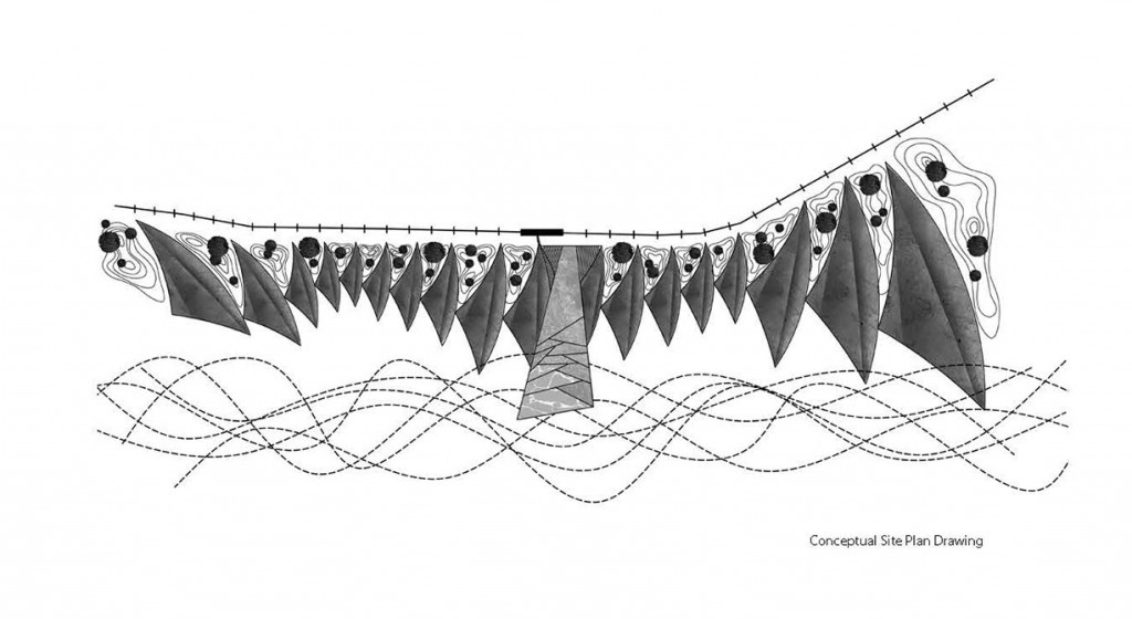 Conceptual site plan drawing from Growing Dune, a project completed in Lee's third year at LSU, tipton associates travel award