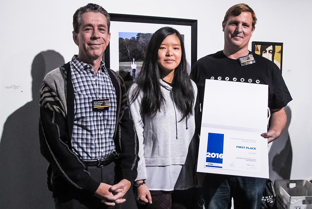 First place winner Lucy Guo with Director Rod Parker (left) and Juror Scott Andresen (right), lsu high school art exhibition